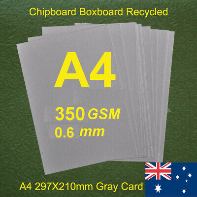 20 X A4 Chipboard Boxboard Cardboard Recycled Gray Card 350gsm 0.7mm