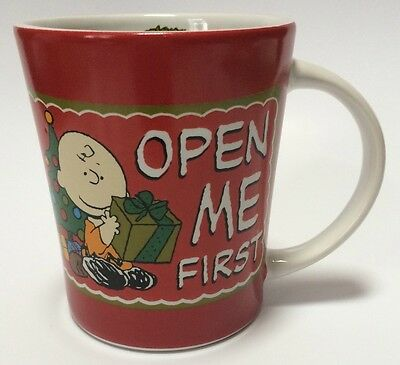 Peanuts Charlie Brown Coffee Mug Cup Open Me First Christmas Gift 15 Oz Snoopy