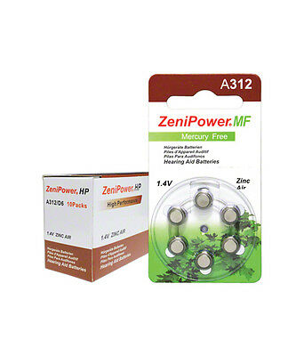 Zenipower Hearing Aid Battery A312 Size 312  6 Card Of 10 = 60 Batteries