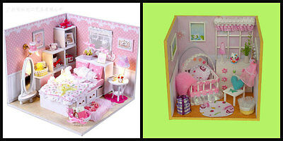 2x Wooden Miniature Dollhouse doll house DIY Kit Gift - Angle's Dream +Baby Room