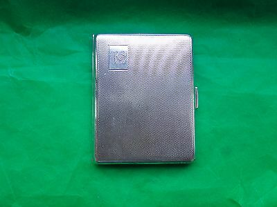 Cigarette Case, Sterling Silver Engine Turn, 1931, Art Deco, Birmingham, Vintage