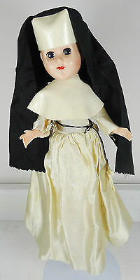 Vintage Nun Doll Celluloid Plastic in White w/ Sleepy Eyes and Crucifix - Japan?