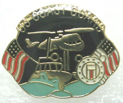 U S Coast Guard lapel pin Black, with American flag,water and Chopper NEW!!