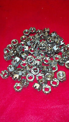"Lot of 85 1/2"" steel castle nuts"