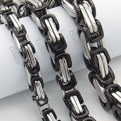 MEN'S 5/6/8MM BLACK 316L Stainless Steel Byzantine Box Chain Necklace 46-91cm