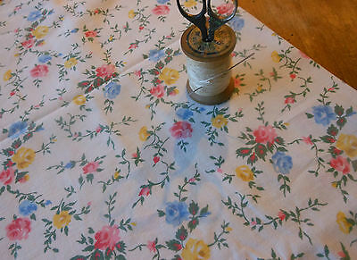 Antique Vintage French Roses Floral Fabric ~pink blue yellow ~dolls projects