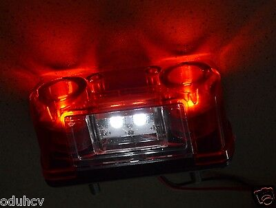 1 One 4 LED Rear Tail License Number Plate Light Lamp 12V/24V Car Truck Trailer