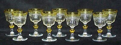 9 Pcs Cut Glass Amber Clear 4 Oz Cordial Goblets Set Paneled Sides