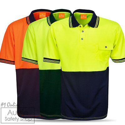 3 X Unisex Hi Vis Cool Dry Work Tradies Construction Council Builder Polo Shirts