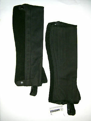 HALF CHAPS HORSE RIDING EQUESTRIAN BLACK AMARA - SMALL, MEDIUM, LARGE and XL