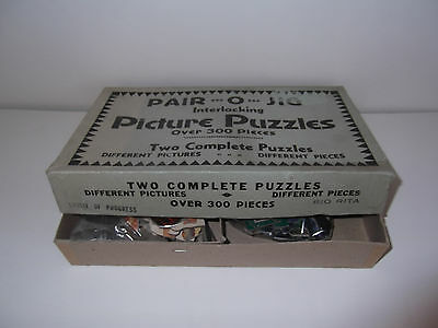Vintage Jigsaw Puzzle (Pair-O-Jig Puzzles) Over 300 pieces (2 puzzles in box)