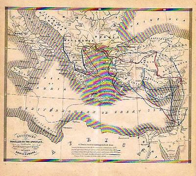 "Small Holy Land Map - ""COUNTRIES TRAVELLED BY APOSTLES""  Original H/C. -  c1860"