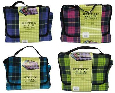 New Picnic Rug - Water Resistant Vinyl Backed Check Design Colors Choice