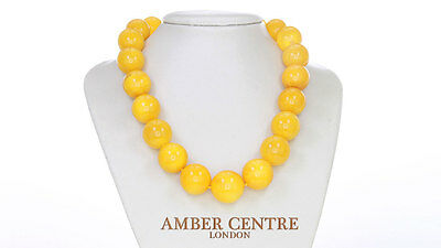 German Antique Baltic Rare Egg Yolk Amber Bead Necklace;122GRAMS-A0233 RRP£14999