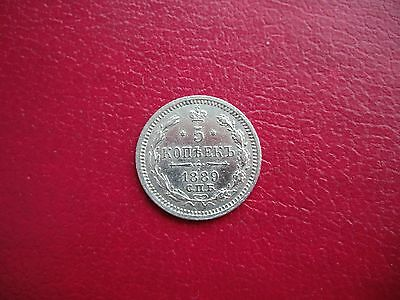 Russia Russian Imperial Silver 5 Kopek Kopeck 1889 Coin . Nice And Luster!!!