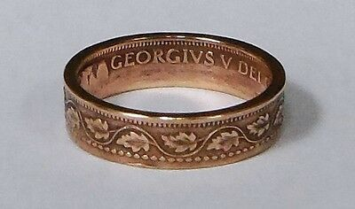 """""""Sealed"""" Coin Ring made from 100 year old Canadian large cent size 6-13"""