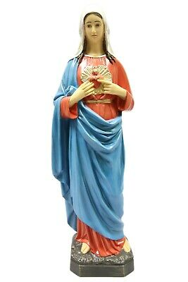 """Large Immaculate Heart of Mary Italian Statue Sculpture Vittoria Italy 25"""" Tall"""