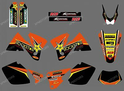 TEAM GRAPHICS & BACKGROUNDS DECALS FOR KTM MXC EXC 250 300 350 400 520 2001 2002