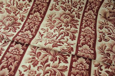 Antique Printed cotton furnishing fabric brown floral c1870 stripe cotton