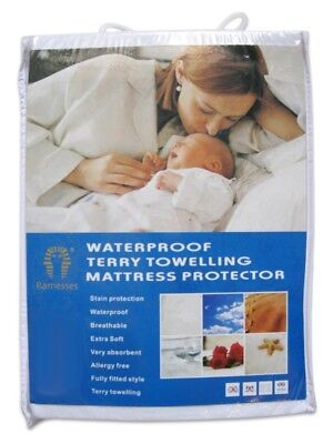 Fully Fitted Waterproof Terry Towelling Top Mattress Protector For All Bed Sizes