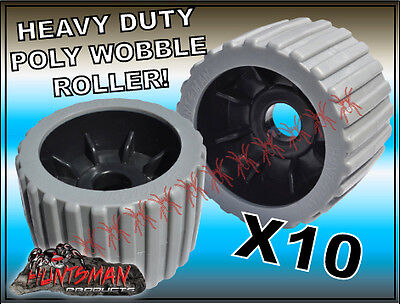 "x10 BOAT TRAILER WOBBLE ROLLERS. 4""  WITH 22MM BORE GREY RIBBED. POLYURETHANE -"