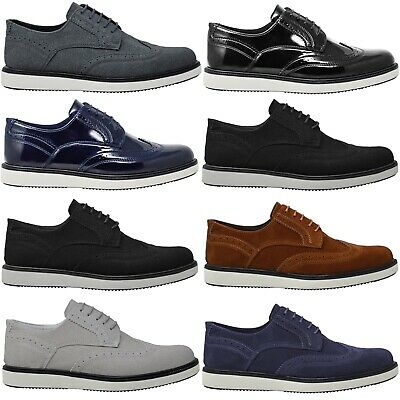 Mens Smart Brown Boys School Designer Faux Leather Formal Wedding Party Shoes