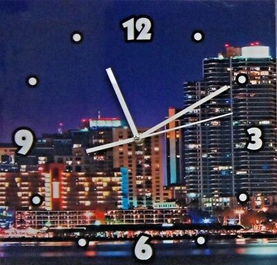 Wall Clock Wall Art Canvas Print Picture Set 3X30cm x 30cm with LED lights 2xAA