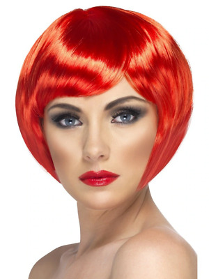 Red Babe Wig Short Bob with Fringe Adult Womens Smiffys Fancy Dress Costume