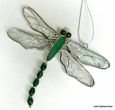 Stained Glass green Dragonfly suncatcher
