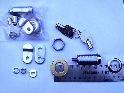 "(2) Arcade Cabinet Desk Drawer Furniture Tubular Cam Locks  1 3/8""  4 same Key"