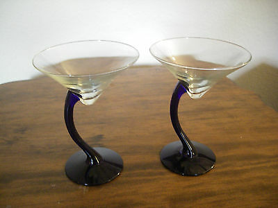 "CROOKED STEM MARTINI GLASSES BLUE NAVY COBALT 6 1/2"" tall 5"" across"