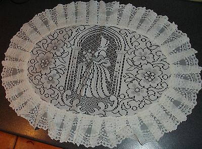 "White Frilled Lace Tray Cloths 17"" x 23"" lace design"