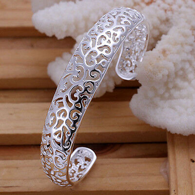 925 Silver Plated Hollow Bangle / Bracelet Women Fashion Jewelry UK Seller
