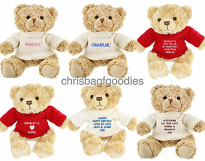 PERSONALISED MESSAGE NAME TEDDY BEAR Gifts for Birthday Valentines Day Mothers