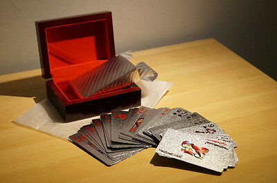 24k Silver Plated Casino Poker Playing Cards Deck with Wooden Box USD100