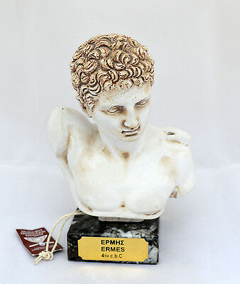 Hermes statue bust Ancient Greek God and conductor of souls sculpture artifact
