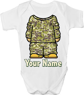 Camouflage Army / Combat Personalised Baby Vest / Gro /bodysuit - *gift & Named*