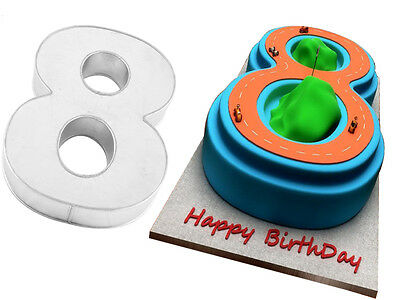 """Small Number Eight 8 Birthday Cake Pan Baking Tin Mold 10""""x 8"""" by Euro Tins"""