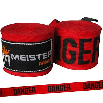 "DANGER RED 180"" SEMI-ELASTIC HAND WRAPS Meister MMA Handwraps Mexican Boxing NEW"