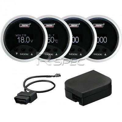 Prosport 4 in 1 52mm Car Black Digital Gauge MPH Volt Water Temp RPM OBD2