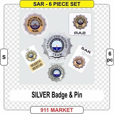 Search & Rescue SAR SET sticker K9 and Marine Emergency SILVER Color Badge G 6pc