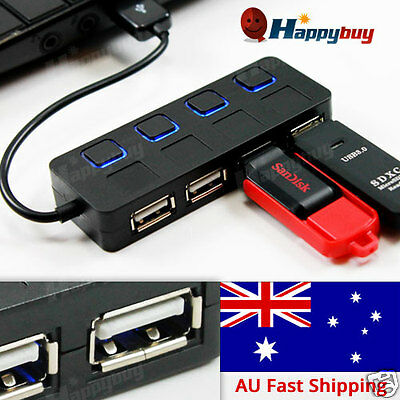 4 Port USB 2.0  with ON/OFF Switch Slim COMPACT USB MULTI HUB EXPANSION SPLITTER