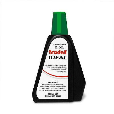2 oz!!! GREEN Trodat Rubber Stamp Refill Ink for-self inking stamps & stamp pads