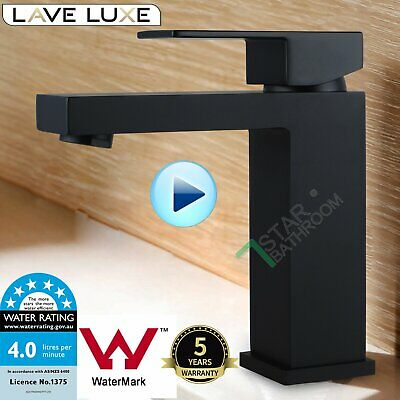 Luxury Matte black square basin mixer bath spout vanity tap brass Watermark