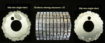 """(L) - Leibinger Offset Number Machine Wheels 9/64"""" Gothic Character - Set of 10"""
