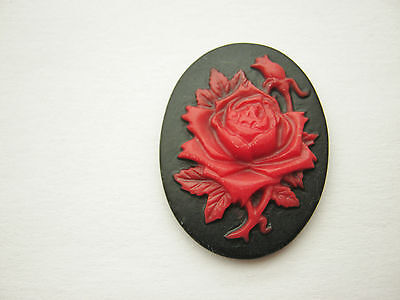 4 Red Roses Cameo Oval Cabochons Resin Flatback 29 x 22mm Jewellery Settings