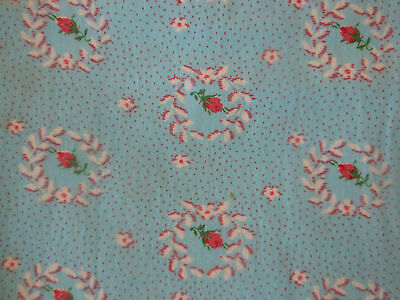 Antique Vintage Wreath of Roses Cotton Fabric ~pink blue ~dolls quilts ~ 1930