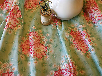 Antique Vintage Shabby Cottage French Daisy Floral Fabric ~Coral Pink Green