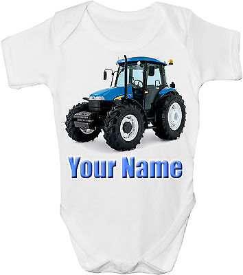 Blue Tractor Personalised Baby Vest / Gro /bodysuit  **great Gift & Named Too**
