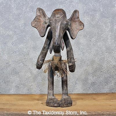 #11981 E | Hand Carved African Tribal Elephant Man Statue - Trophy Room Decor
